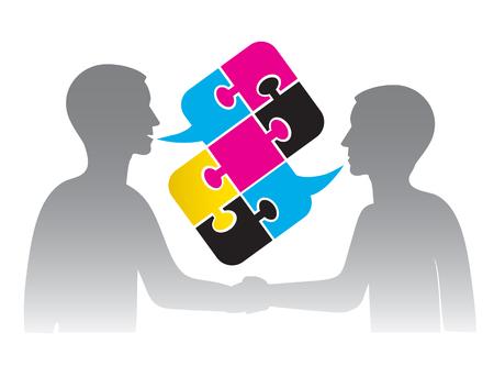 dandose la mano: Contrato de negocios en la industria de la impresi�n. La gente de negocios d�ndose la mano y hablar Puzzle burbuja con colores impresi�n. Ilustraci�n.
