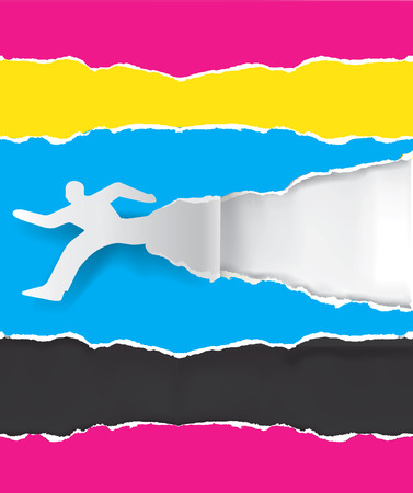 prepress: Paper silhouette of  running man ripping paper with print colors with place for your text or image.  Concept for presenting color printing. Vector illustration.