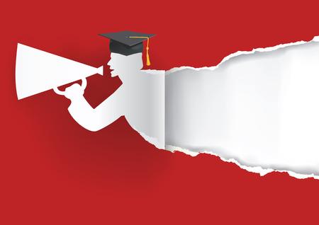 gorros de graduacion: Fondo rojo con la graduación graduado papel rasga el papel con el lugar para su texto o ilustración image.Vector.