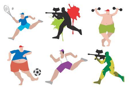 dump body: Set of Funny sports figures ? football, paintball, tennis, run, body building . Vector illustration. Illustration