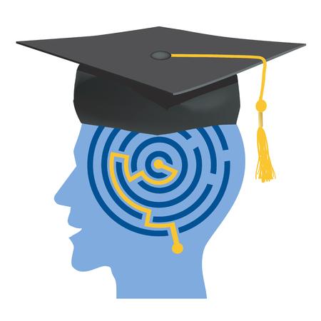 Silhouettes de tête Homme avec labyrinthe et toque symbolisant diplômé. Vector Illustration.