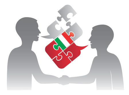 pronounce: Two men and Puzzle bubble talk with a Italian flag symbolizing Italian conversation.Vector illustration.