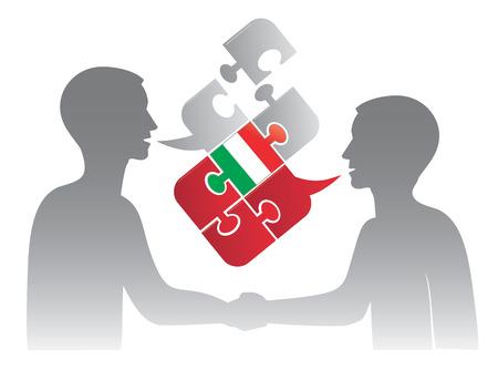 language school: Two men and Puzzle bubble talk with a Italian flag symbolizing Italian conversation.Vector illustration.