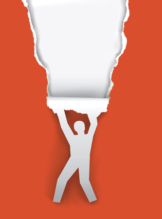 uncovering: Paper Silhouette hanging man, ripping red paper background with place for your text or image.Vector illustration. Illustration