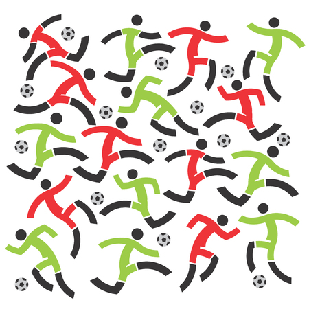 Decorative background with stylized Soccer players on the white background.Vector illustration. Vector