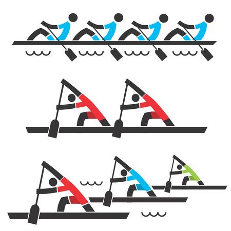 Drie gestileerde iconen van roeien een roeiwedstrijd op de witte achtergrond. Vector illustratie.