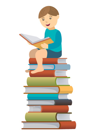 Little boy sitting on the pile of books  reading a book. Vector illustration. Illustration