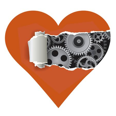 uncovering: Heart with torn paper uncovering gear symbolizing love for machines or cold Heart.