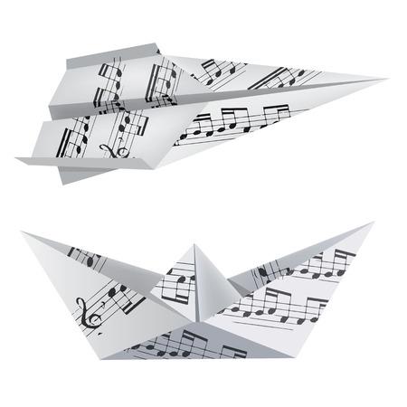 Barco de papel y el avión con las notas musicales sobre el fondo blanco. Tema de usar para el cuaderno de la música y los himnos. Ilustración del vector. Foto de archivo - 39677164