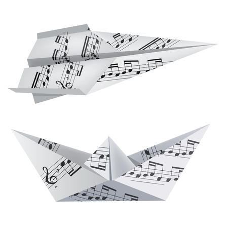origami bird: Paper boat and airplane with musical notes on the white background. Theme to use for music notebook and hymnals. Vector illustration.