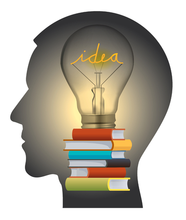 Human Head silhouette with light bulb and books symbolizing education and creativity.  Illustration
