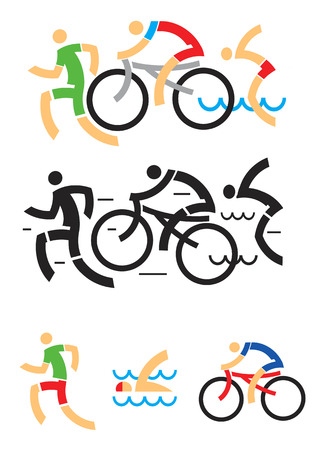 トライアスロンの水泳ランニングおよびサイクリングを象徴するアイコン。ベクトルの図。