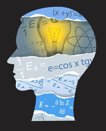 pedagogy: Human Head silhouette with mathematcs and physics symbols. Vector illustration.