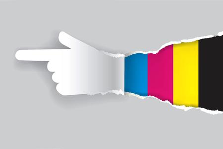 imprenta: Mano de papel rasga papel con colores impresión. Concepto para la presentación de la impresión en color. Ilustración del vector.