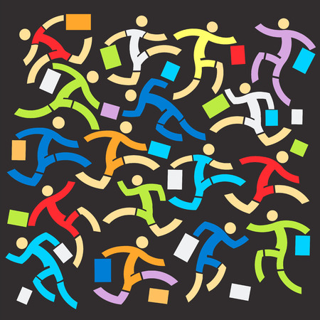 consumerist: Icons of Running people with shopping bag symbolizing chaos and shopping fever on the black