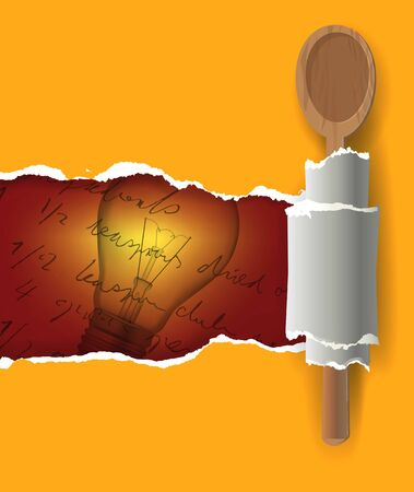 recipe book: Ripped paper with with wooden spoon.and light bulb symbolizing creative cooking. Vector illustration