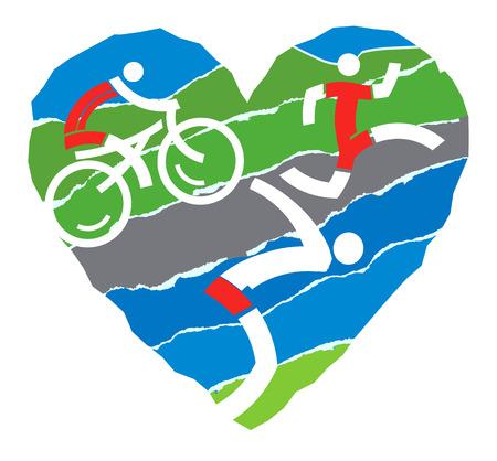 トライアスロンのランニングおよびサイクリング破れた紙の背景に水泳を象徴するアイコンと心。ベクトルの図。
