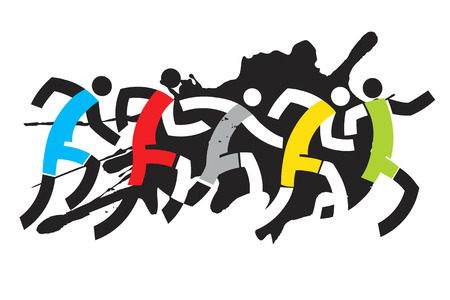 runners: Grunge stylized drawing of runner race. Vector illustration.