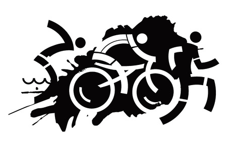 silueta ciclista: Tres iconos que simbolizan triatlón en el fondo negro del grunge. Adecuado para la impresión de las camisetas. Ilustración del vector.