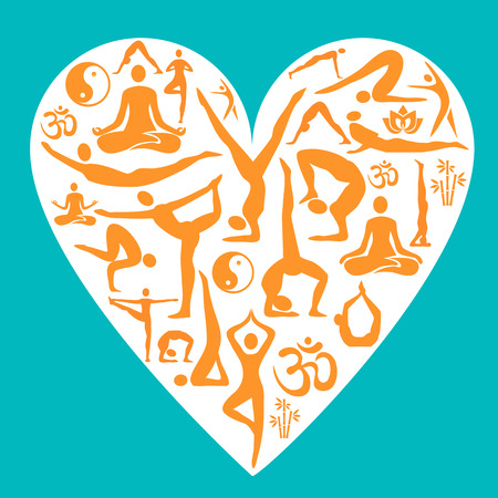 love silhouette: Decorative backgrounds with yoga symbols and position in the heart shape. Vector illustration.