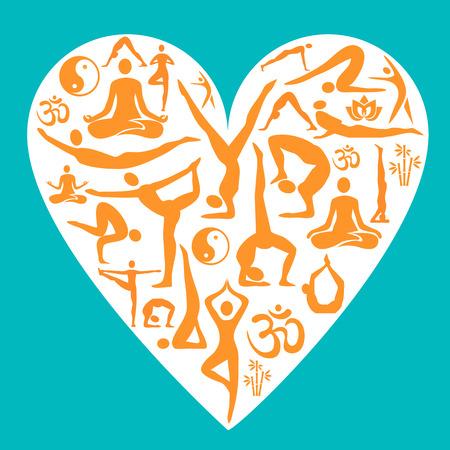 position d amour: Milieux décoratifs avec des symboles de yoga et de la situation dans la forme de coeur. Vector illustration. Illustration