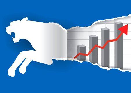 silueta tigre: Silueta de papel del tigre rasga fondo de papel azul con la carta que simboliza el crecimiento del negocio rápido. Ilustración del vector.