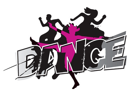group fitness: Disco and modern dancing Dancers silhouettes on the inscription Dance and grunge black background . Vector illustration.