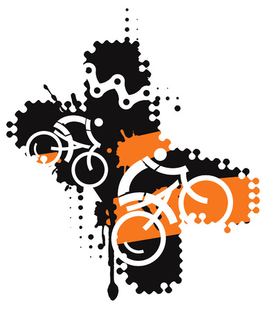 exercise bike: Cycling icons on the grunge background xshaped. Suitable for printing Tshirts.Vector illustration. Illustration