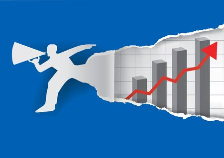 uncovering: Paper male silhouette ripped paper and uncovering chart with business growth . Vector illustration.
