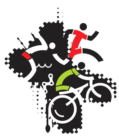 silueta ciclista: Tres iconos que simbolizan triatlón en el fondo del grunge. Vectores