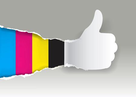 imprenta: Silueta de papel que gesticula los pulgares para arriba con los colores de impresión.