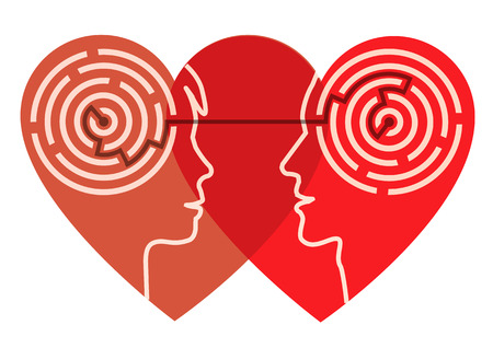Young couple silhouettes in the heart shape with maze symbolizing psychological processes of love. Vector illustration. Vettoriali