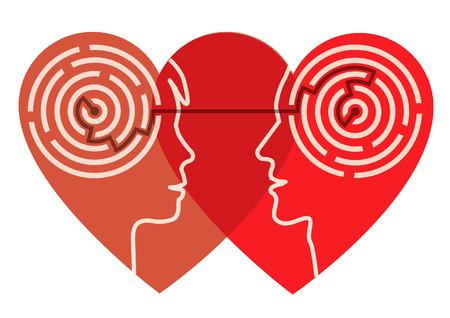 psicologia: Siluetas par de jóvenes de la forma del corazón con laberinto simboliza los procesos psicológicos de amor. Ilustración del vector.