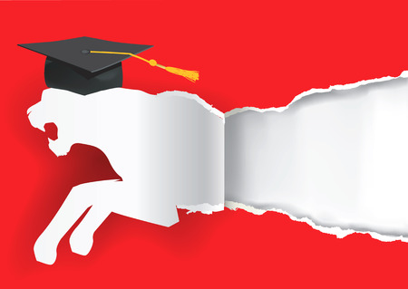 doctorate: Paper tiger silhouette with mortarboard ripping red paper background symbolizing graduate of ambitious and  competitive student. Vector Illustration. Illustration