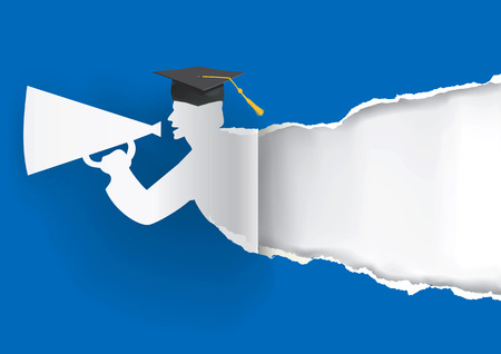 Blauwe achtergrond Afstuderen met Paper graduate rippen papier met plaats voor uw tekst of image.Vector illustratie.