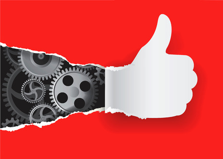 uncovering: Paper silhouette Gesturing  thumbs up with gear. Vector illustration.
