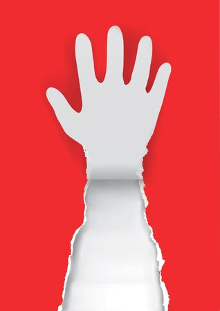 hand torn: Paper hand silhouette Gesturing stop on the red paper background with place for your text or image. Vector illustration. Illustration