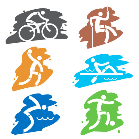mountain biker: Set of colorful grunge icons with sport activities. Vector illustration.