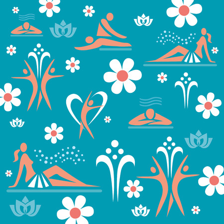masseur: Decorative background with symbols of massage and spa. Vector illustration.