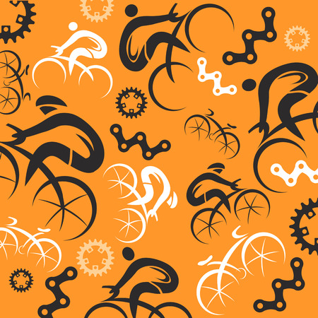 Decorative background with cycling icons. Vector illustration. Vector
