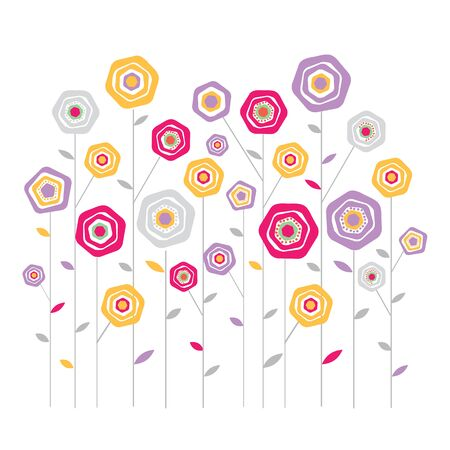 vector illustration: Flower decorative colorful background isolated on the white background. Vector illustration.