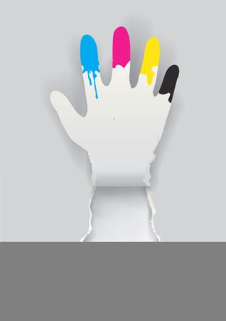 waving hand: Paper hand silhouette with print colors on the fingers. Concept for presenting of color printing. Vector illustration.