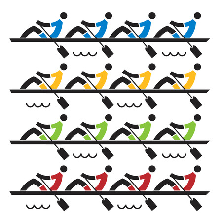 Four rowing teams stylized vector illustration  on the white background.
