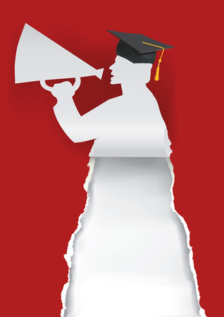 Red Graduation background with Paper graduate silhouette  holding a megaphone with place for your text or image.Vector illustration