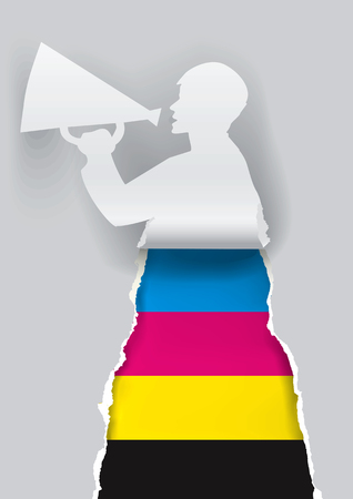 advertises: Paper male silhouette advertises color printing with megaphone.  Concept for presenting of paper or color printing press. Vector illustration.