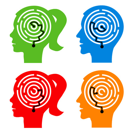 understanding: Male and female head silhouettes with maze symbolizing psychological processes of understanding. Vector illustration.