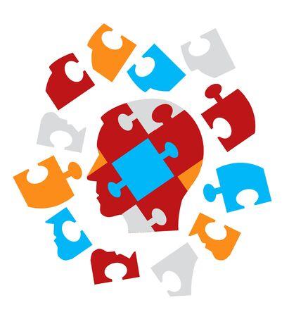 psicologia: Puzzle silueta de cabeza masculina Psicología simboliza problemas psicológicos troceados mente. Ilustración del vector.