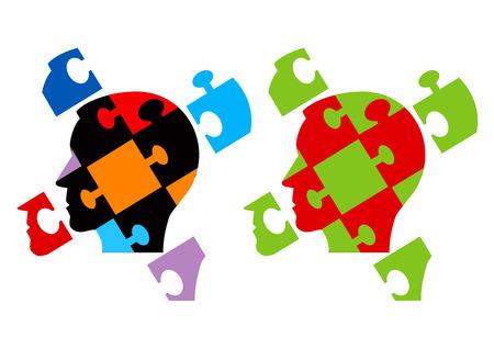 psicologia: Puzzle Desmontado silueta de cabeza masculina Psicología simboliza problemas psicológicos troceados mente. Ilustración del vector.