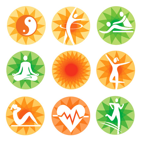 massage symbol: Icons with fitness spa healthy lifestyle activities on the decorative background. Vector illustration. Illustration