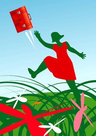 schoolbag: Schoolgirl on a meadow thrown schoolbag. Vector illustration.